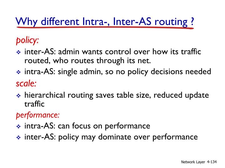 Why different Intra-, Inter-AS routing ?