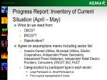 progress report inventory of current situation april may