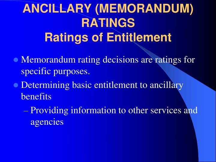 ANCILLARY (MEMORANDUM) RATINGS