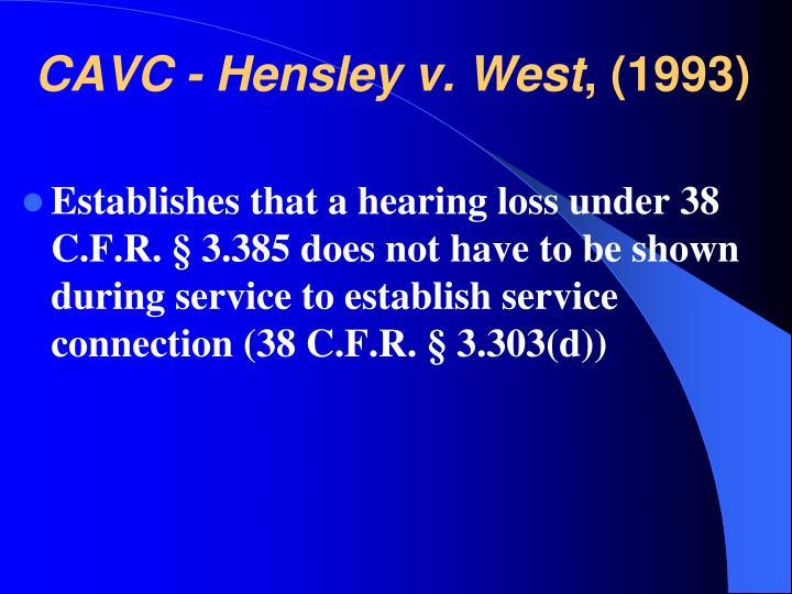CAVC - Hensley v. West