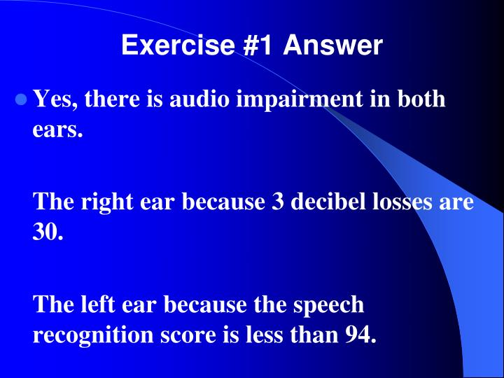 Exercise #1 Answer
