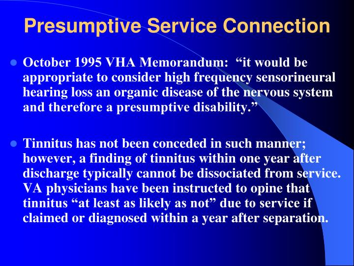 Presumptive Service Connection