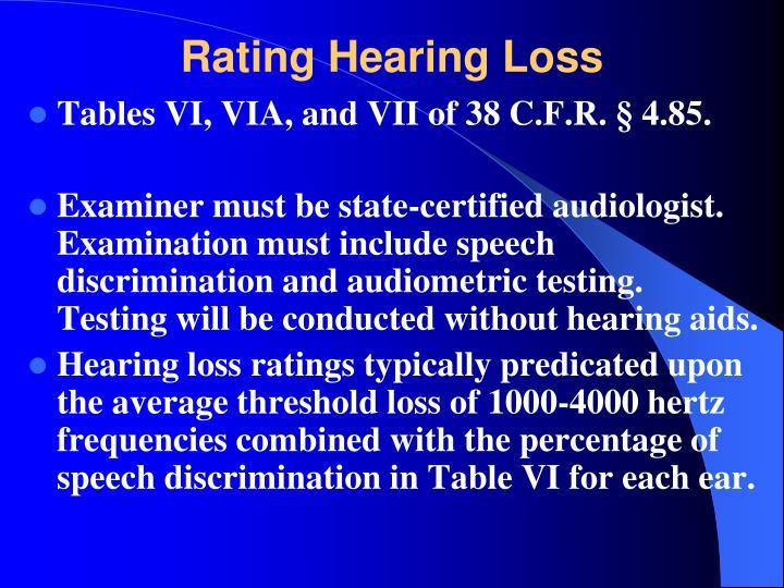Rating Hearing Loss