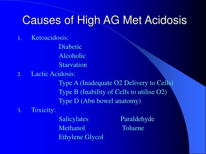 Causes of High AG Met Acidosis