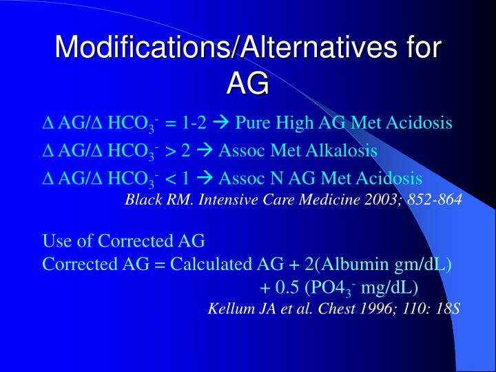 Modifications/Alternatives for AG