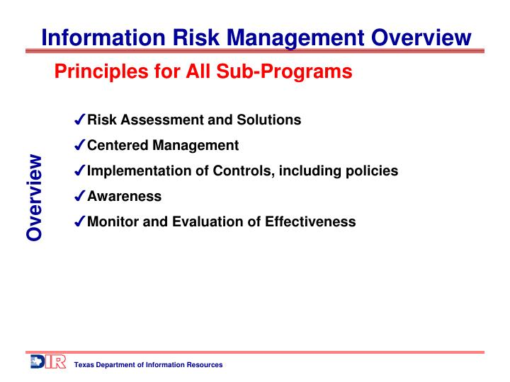 Principles for All Sub-Programs