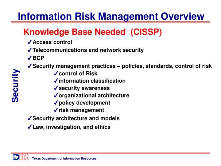 Knowledge Base Needed  (CISSP)