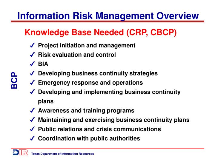 Knowledge Base Needed (CRP, CBCP)