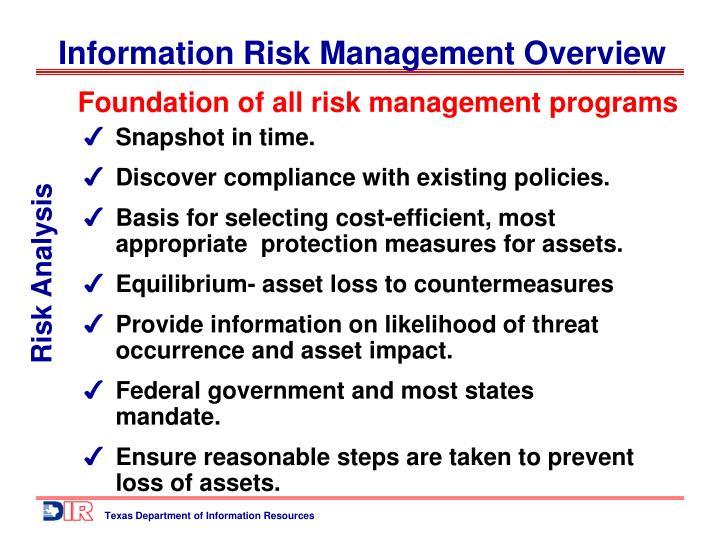 Foundation of all risk management programs