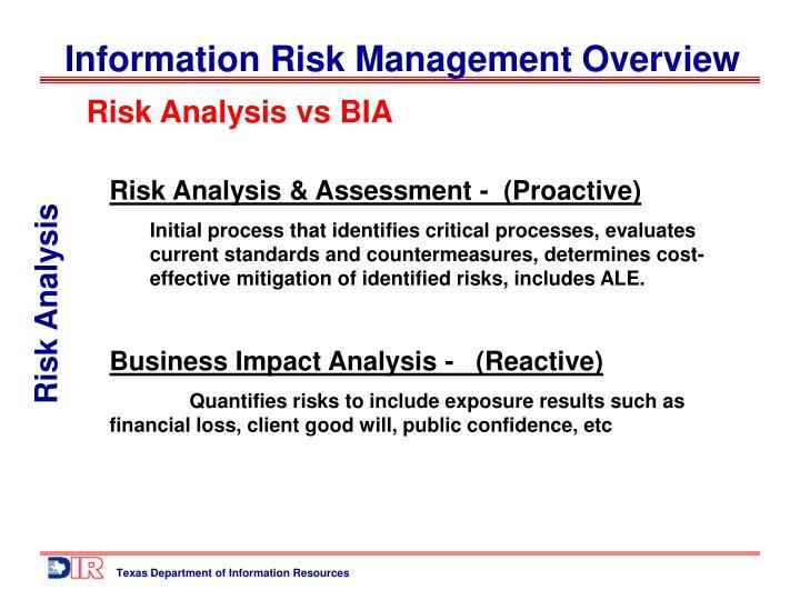 Risk Analysis vs BIA