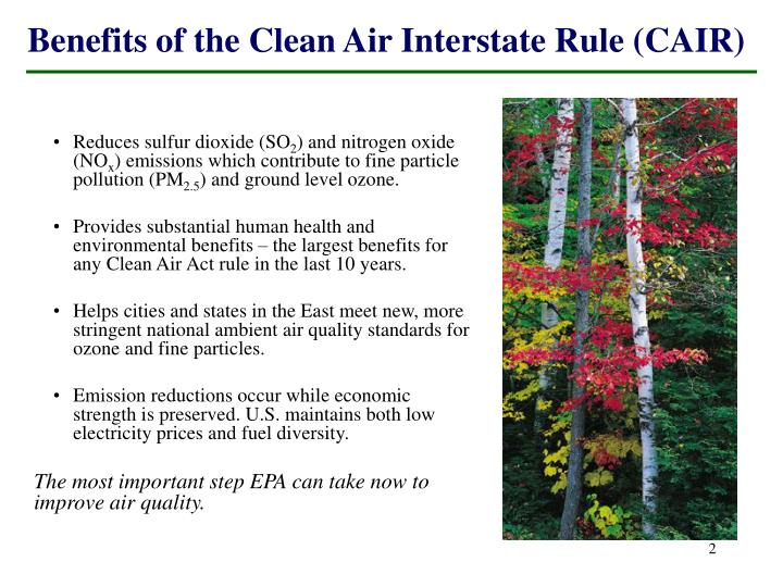 Benefits of the clean air interstate rule cair
