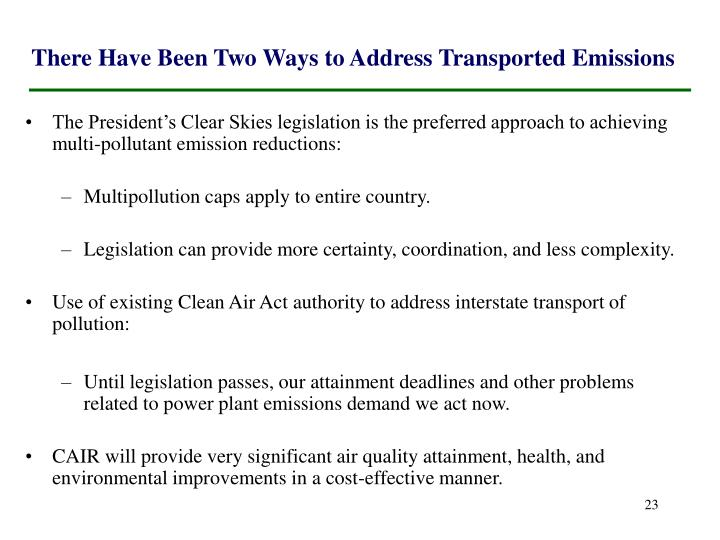 There Have Been Two Ways to Address Transported Emissions