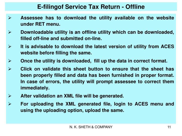 E-filingof Service Tax Return - Offline