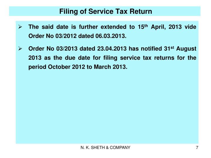 Filing of Service Tax Return