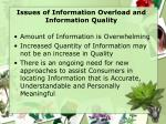 issues of information overload and information quality