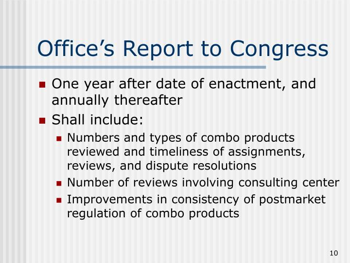 Office's Report to Congress