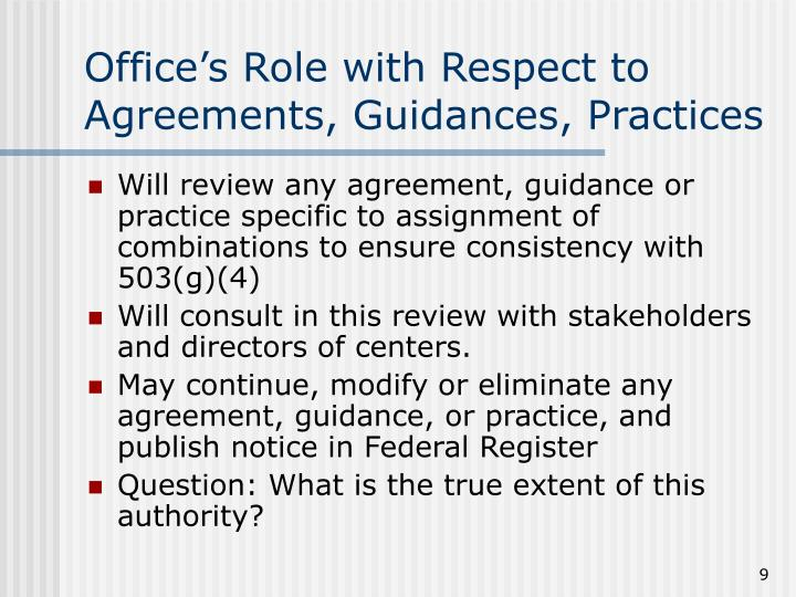 Office's Role with Respect to Agreements, Guidances, Practices