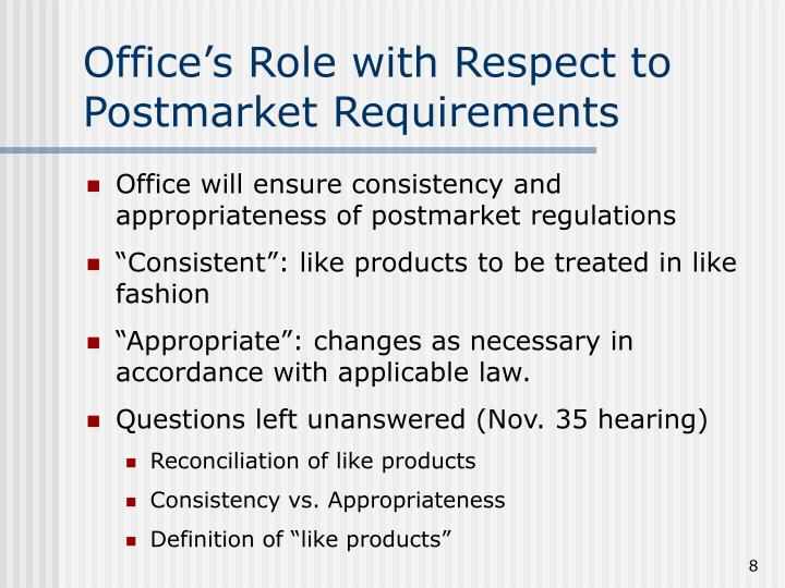 Office's Role with Respect to Postmarket Requirements