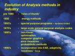 evolution of analysis methods in industry