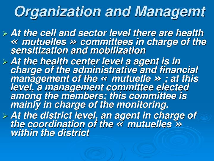 Organization and Managemt