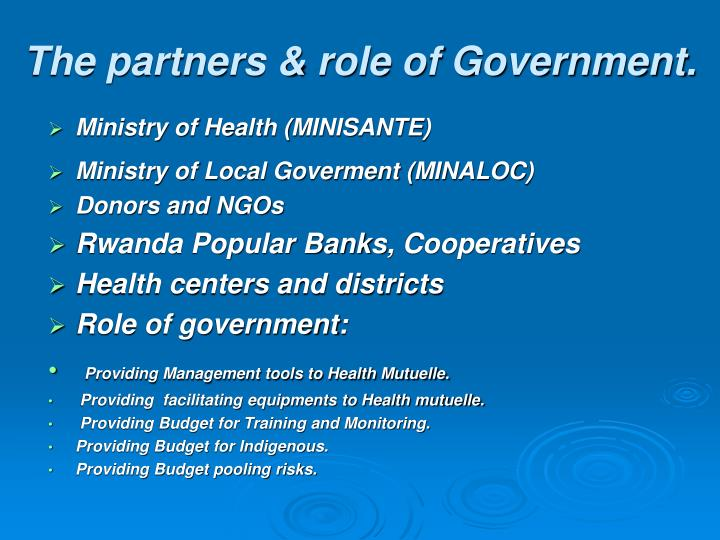 The partners & role of Government.