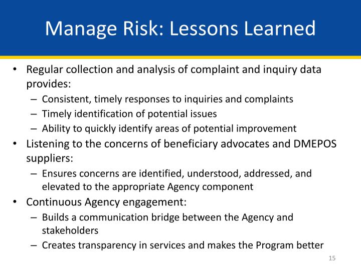 Manage Risk: Lessons Learned