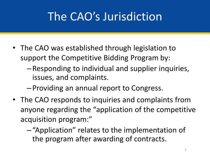 The cao s jurisdiction
