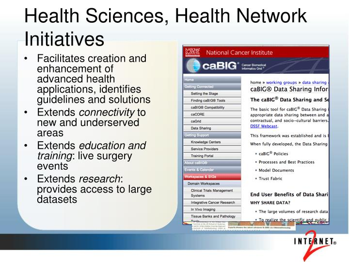 Health Sciences, Health Network Initiatives