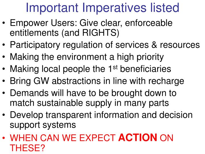 Important Imperatives listed