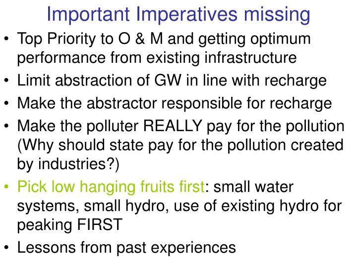 Important Imperatives missing