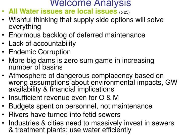 Welcome analysis
