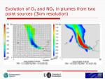 evolution of o 3 and no 2 in plumes from two point sources 3km resolution