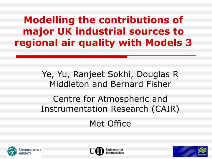 modelling the contributions of major uk industrial sources to regional air quality with models 3