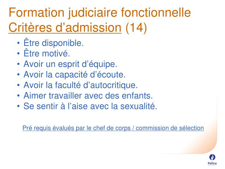 Formation judiciaire fonctionnelle