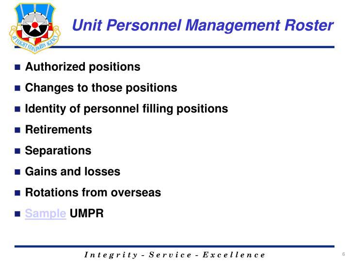 Unit Personnel Management Roster