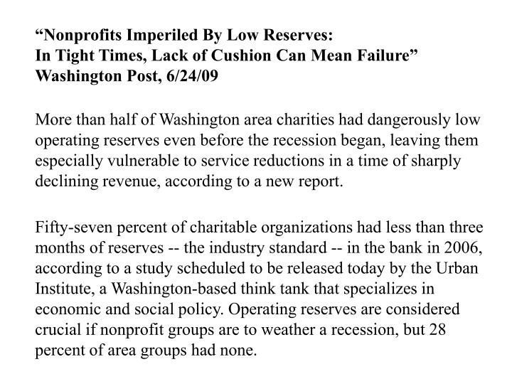 """Nonprofits Imperiled By Low Reserves:"