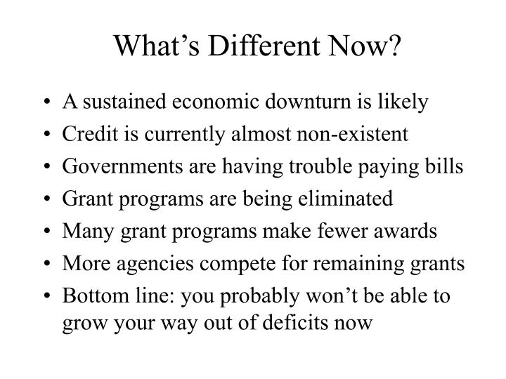 What's Different Now?
