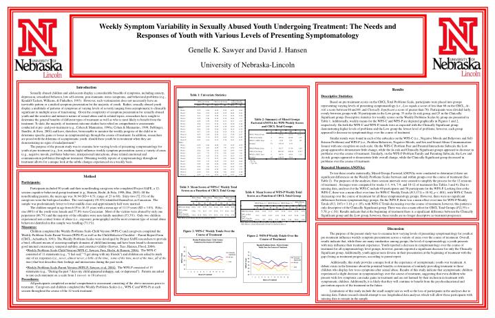 Weekly Symptom Variability in Sexually Abused Youth Undergoing Treatment: The Needs and Responses of...
