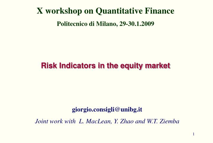 PPT - Risk Indicators in the equity market PowerPoint