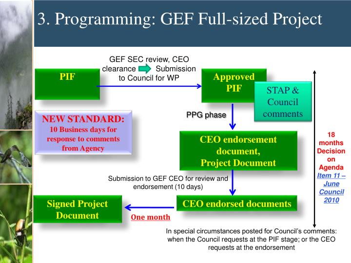 GEF SEC review, CEO clearance         Submission to Council for WP