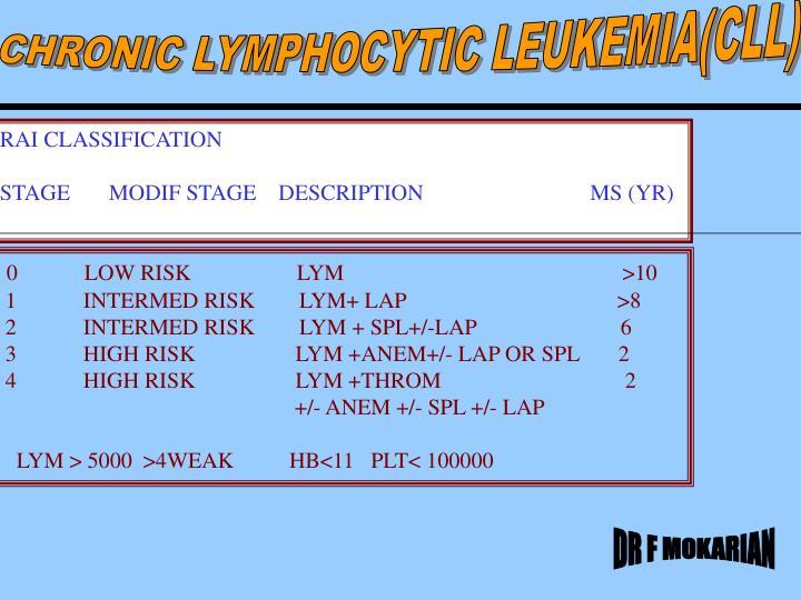 CHRONIC LYMPHOCYTIC LEUKEMIA(CLL)
