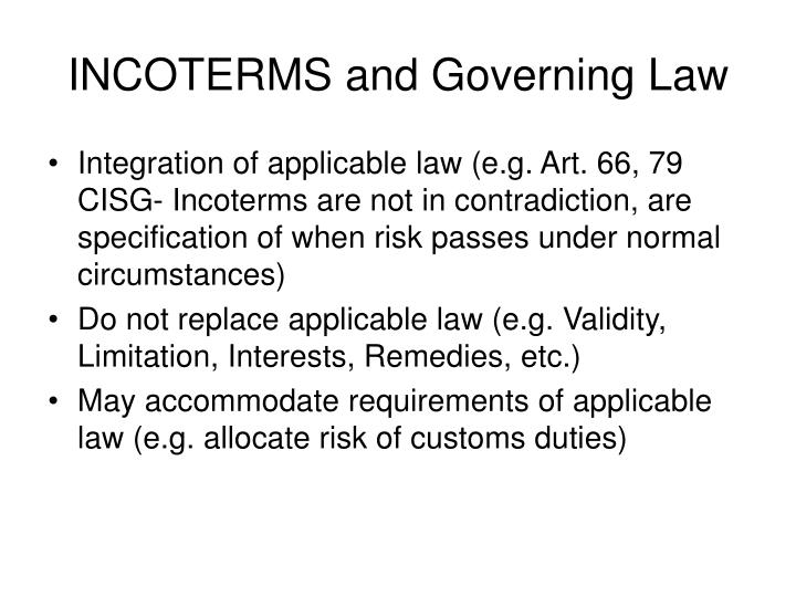 INCOTERMS and Governing Law