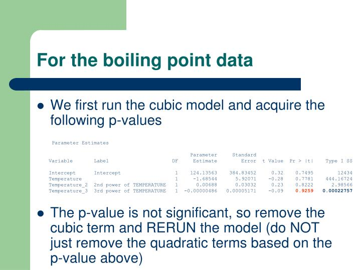 For the boiling point data