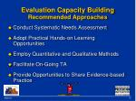 evaluation capacity building recommended approaches