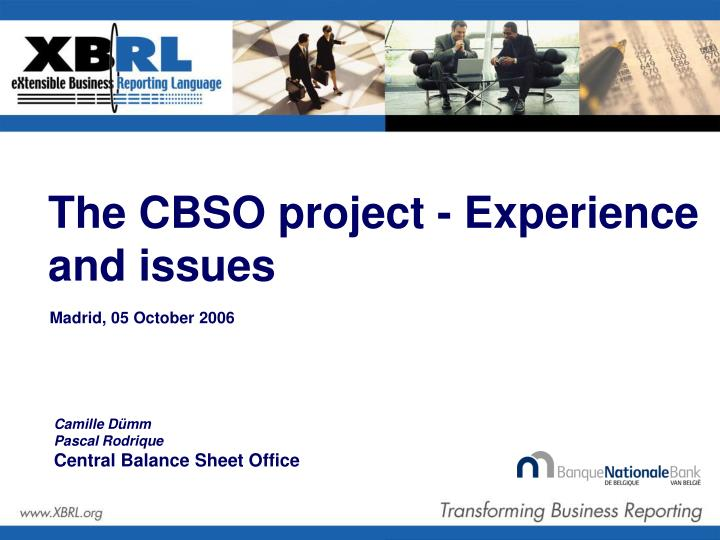 the cbso project experience and issues n.