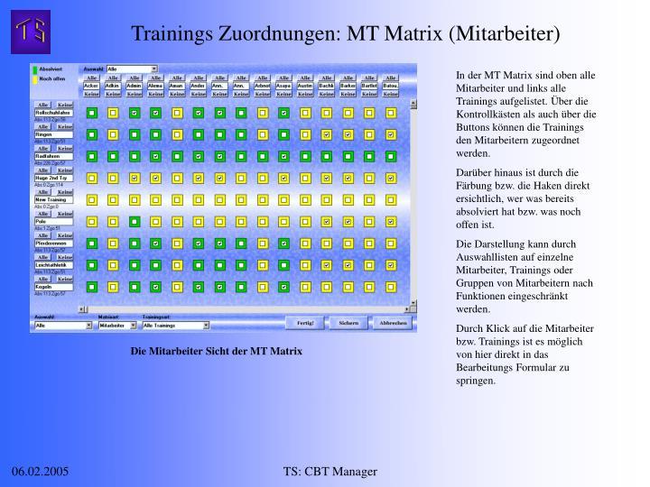 Trainings Zuordnungen: MT Matrix (Mitarbeiter)