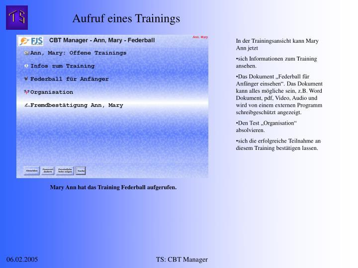 Aufruf eines Trainings