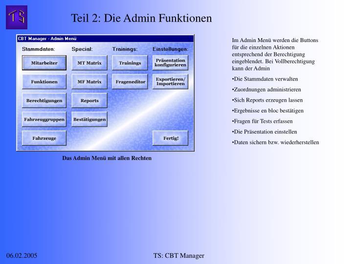 Teil 2: Die Admin Funktionen