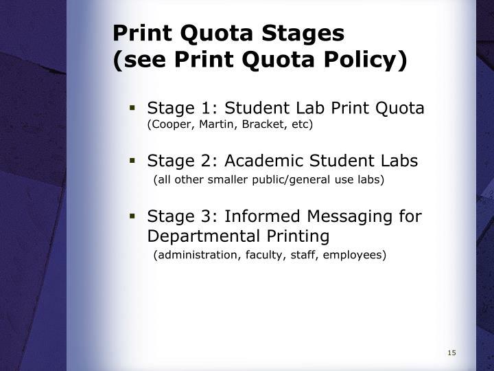 Print Quota Stages