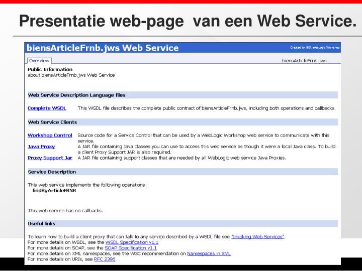 Presentatie web-page  van een Web Service.